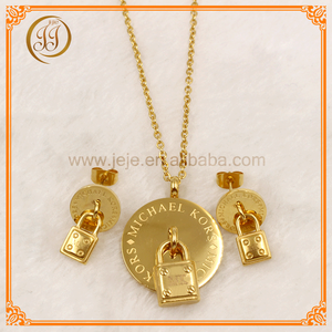 Fashion Lock Shaped Design 18K Gold Plated Stainless Steel Set Jewelry