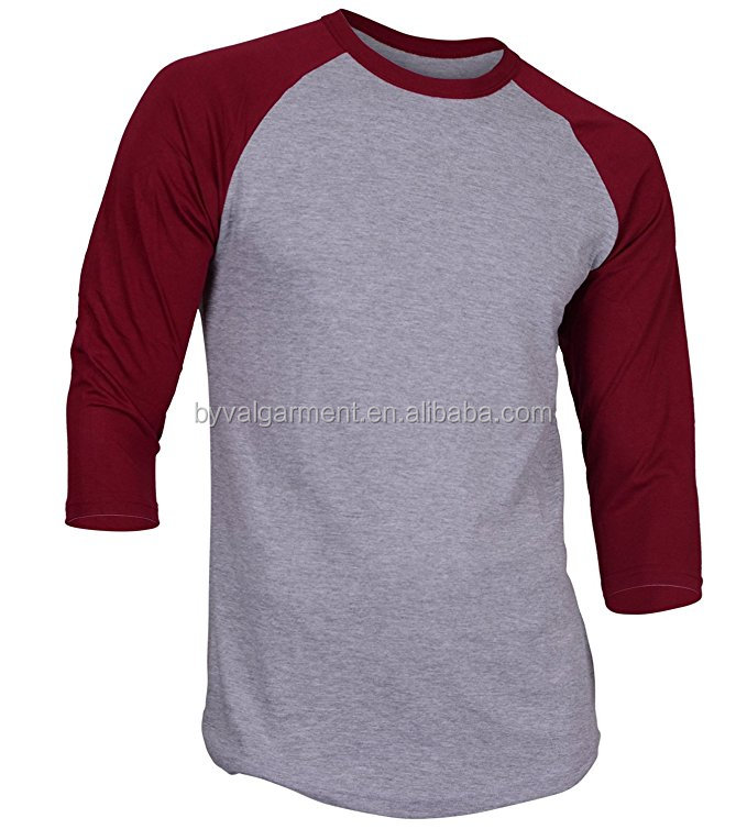 Plain Baseball t-shirts mannen Raglan Shirt 3/4 Mouwen Athletic Baseball Jersey Groothandel