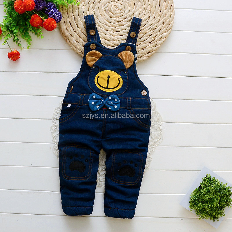 Latest design European baby jeans denim overalls for Autumn/ Winter
