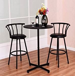 K&A Company Bar Table Set Pub Stools Kitchen Furniture Bistro Round Dining Counter Piece Home Stool Height Modern Wood Chairs 2 Stools 3 pcs