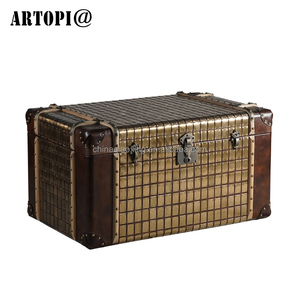 Different size decorative vintage aluminum leather storage trunk box with lock
