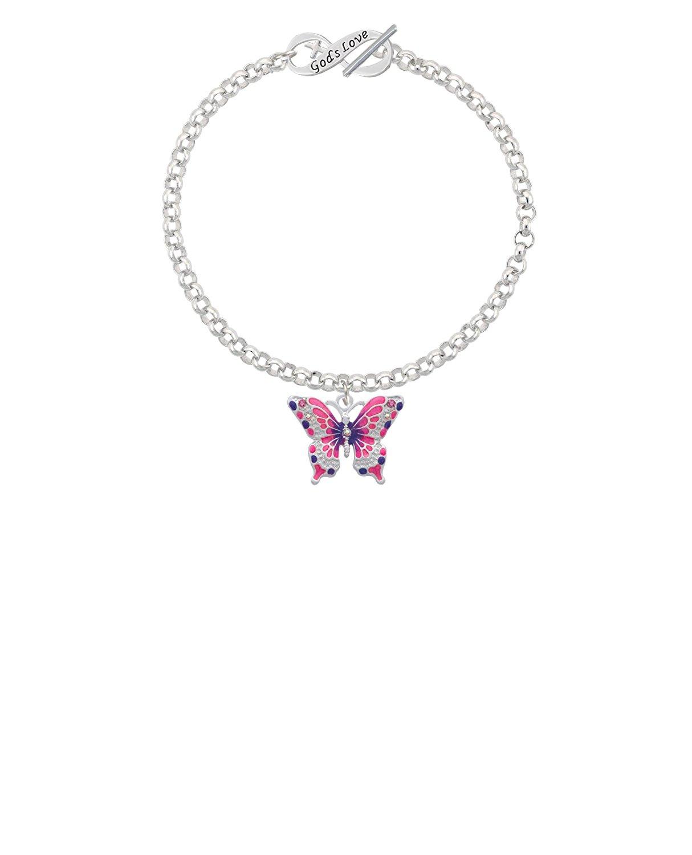 Silvertone Pink /& Purple Butterfly Locket Grandma Infinity Toggle Chain Bracelet 8