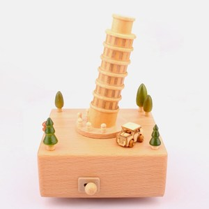Rotary Manual Clockwork Imported Movement Home Decoration Crafts Birthday Gift Leaning Tower Wooden Music Box