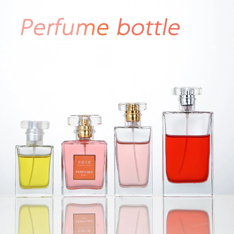 30ml /50ml /100ml /Square Rectangle Empty Clear Perfume Glass Bottle with Square Crystal Cap