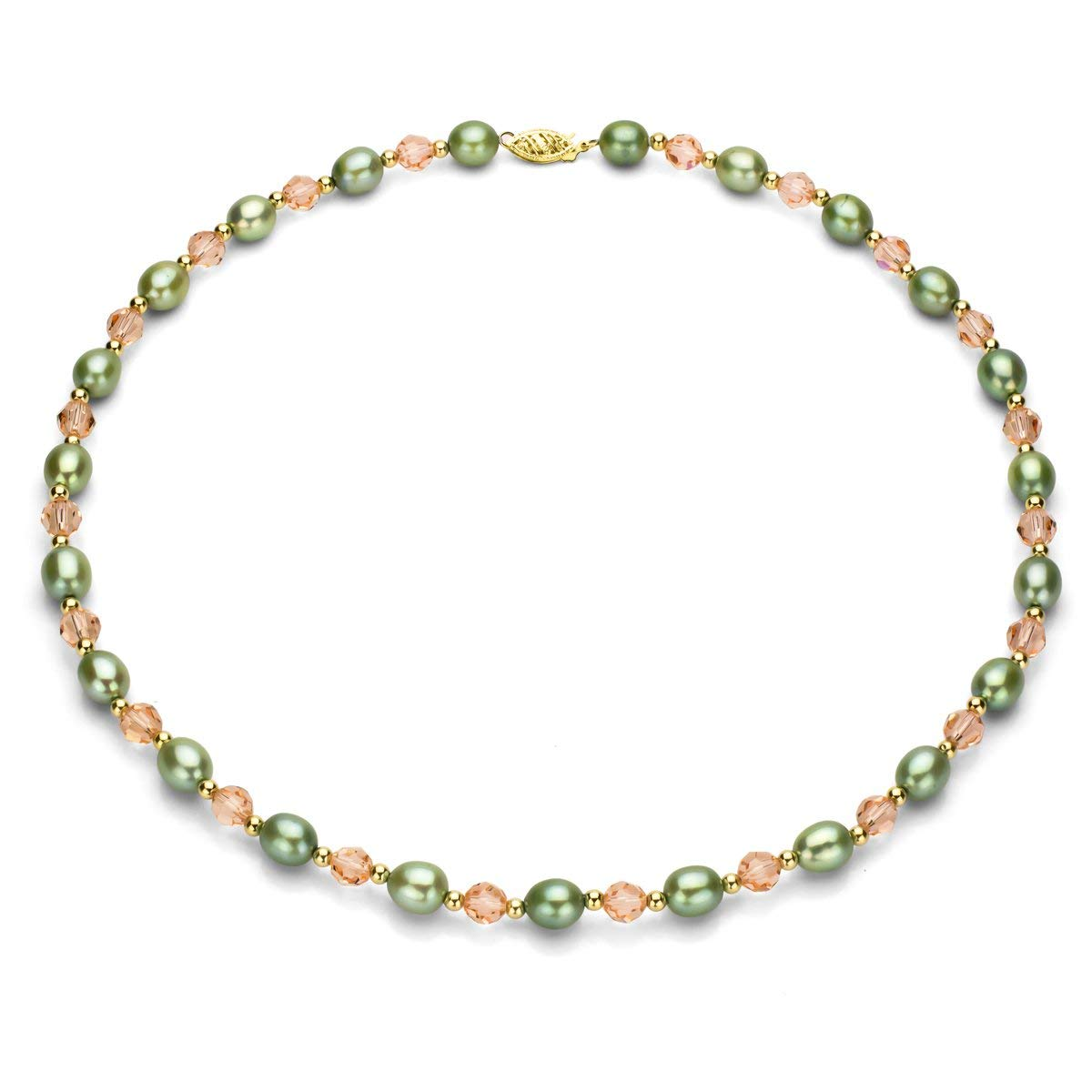 """La Regis Jewelry 14K Yellow Gold 7-7.5mm Dyed-green Freshwater Cultured Pearl, Simulated Dyed-pink Crystal Necklace, 17"""""""