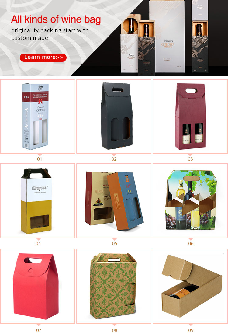 China manufacturer Cheap Custom printed foldable packaging paper carrier wine gift box