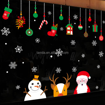 Window Stickers Merry Christmas Gifts Wall Sticker Snowfake Home Shop Windows Christmas Decals Decor Buy Shopping Mall Christmas Decorations Plastic