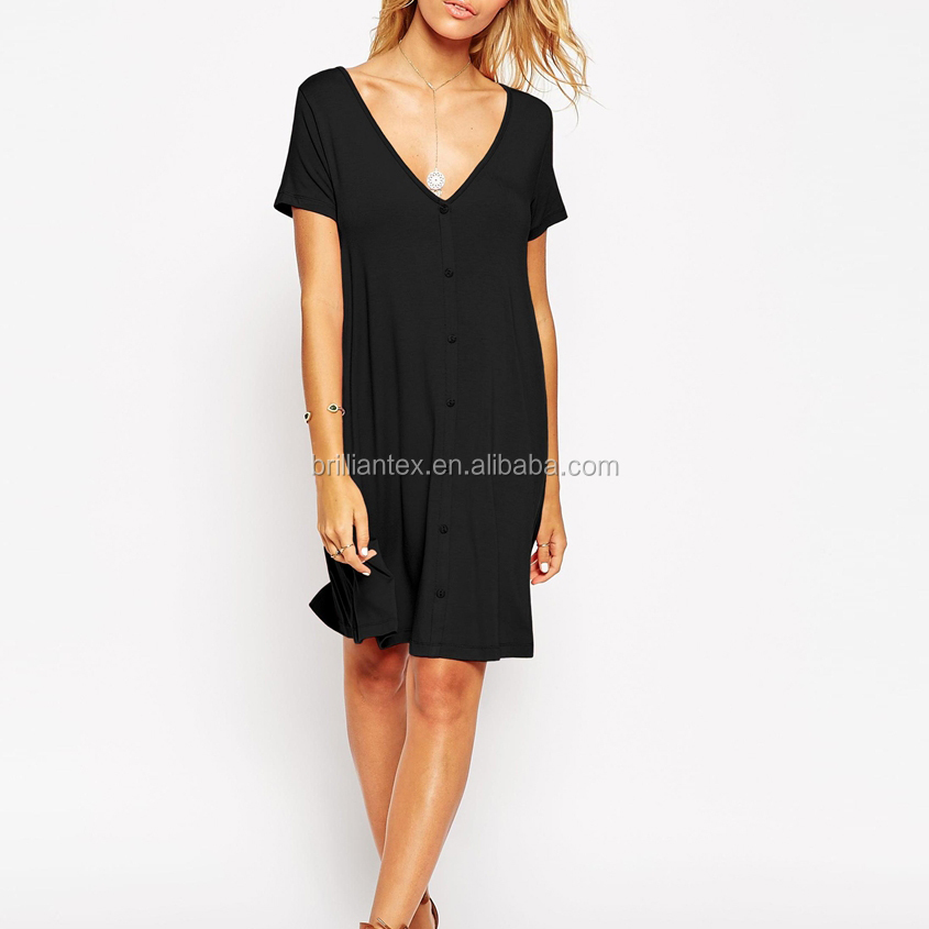 Sexy Fashion Deep V-Neckline Swing Dress With Front Botton