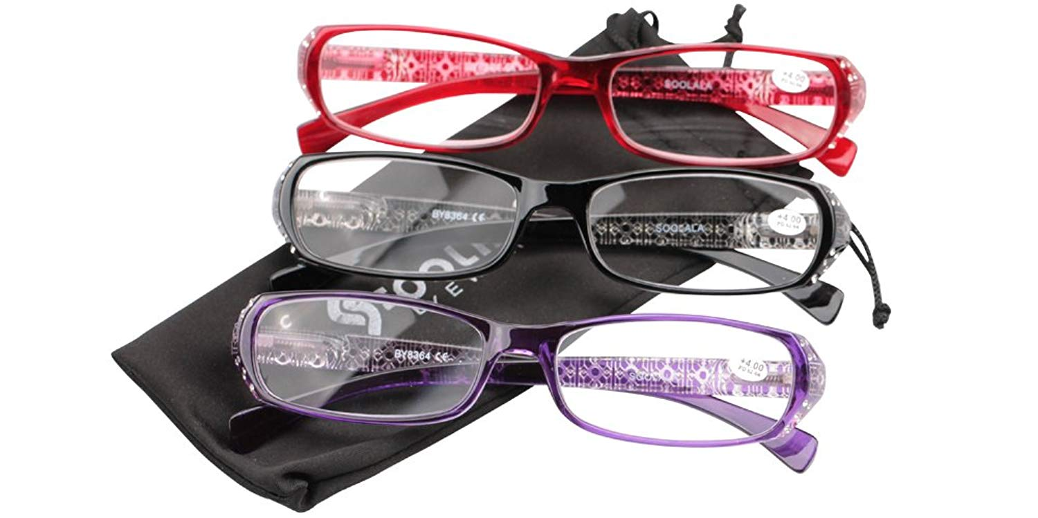 a73ef56211a Get Quotations · SOOLALA 3 Pairs Laides  Stylish Readers Quality Reading  Glasses for Women