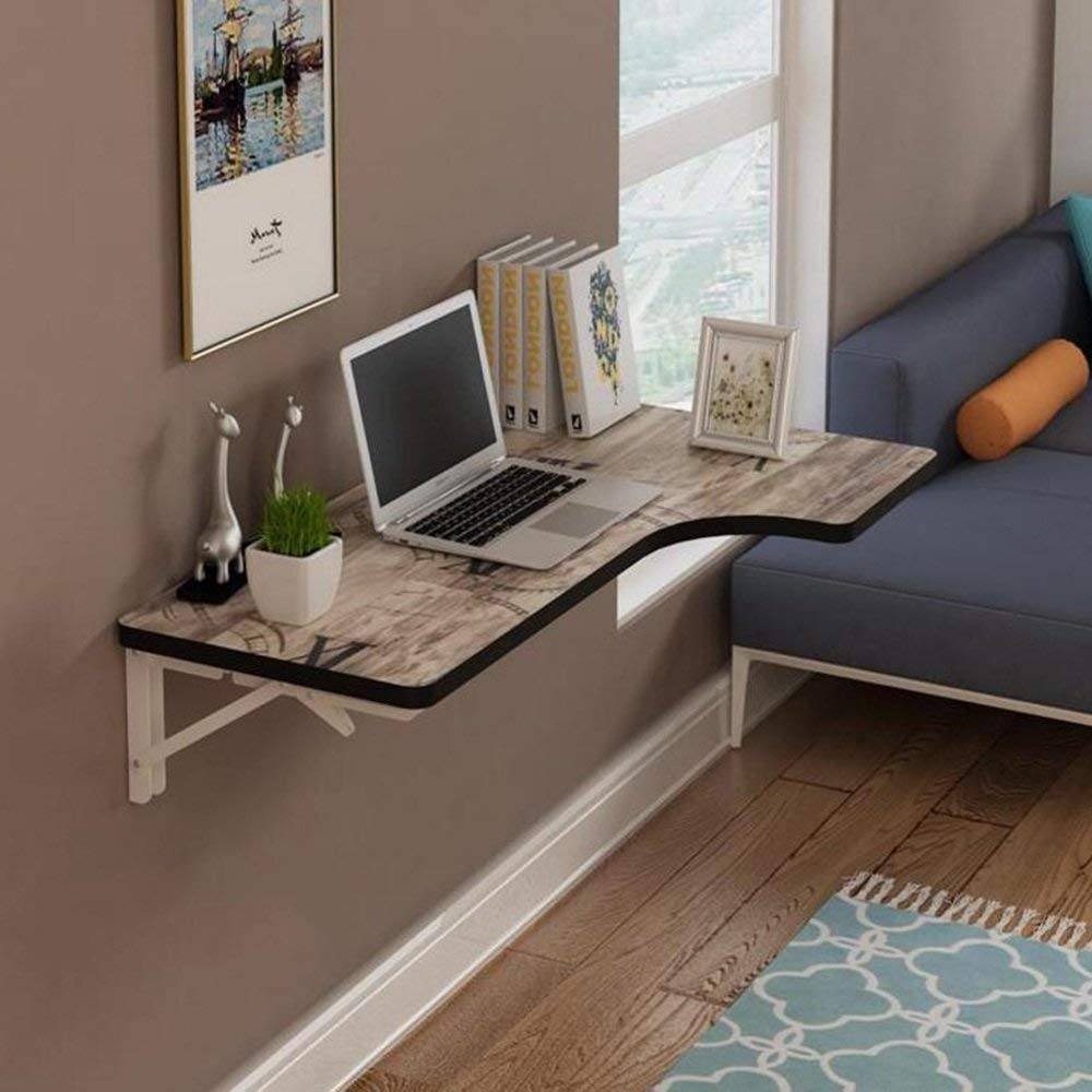 Tables ZR-Wall Wall-mounted Corner Folding Desk L-type Study Computer Desk in 7 colors/3 sizes -save space (Color : H, Size : 1206040cm)