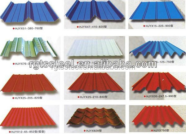 Material de la placa de acero de color y tipo de for Tipos de techos