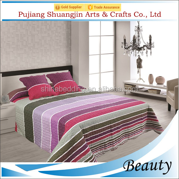 100% microfiber polyester home wedding colorful bedding set/stripe thin quilt