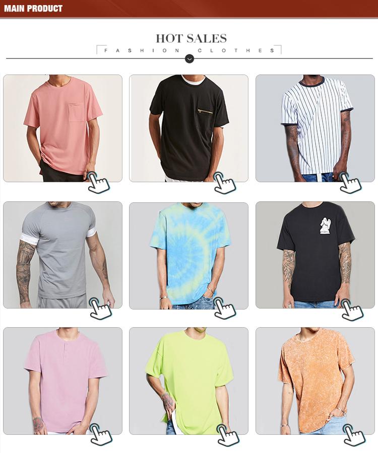 Casual style zipper pocket 100% cotton black custom men's t shirt