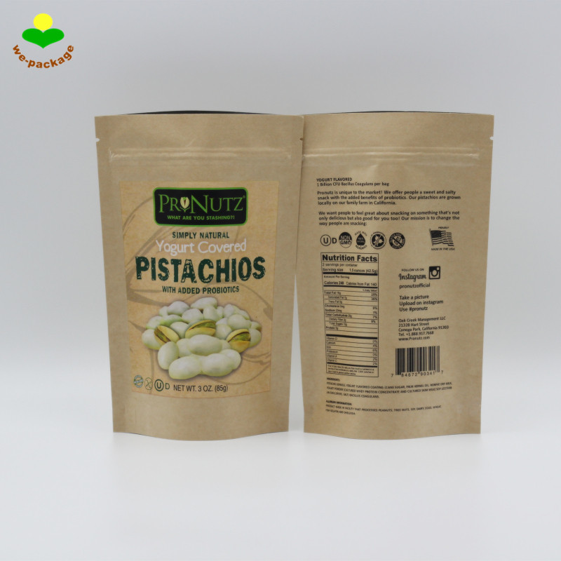 Small Size Snack Stand Up Ziplock Kraft Paper Packaging Bag For Pistachio Nuts