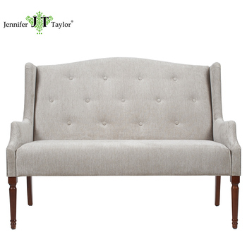 New Por Fabric Botton Tufting Settee Grey Two Seater Upholstery Sofa Couch With High Wooden Legs