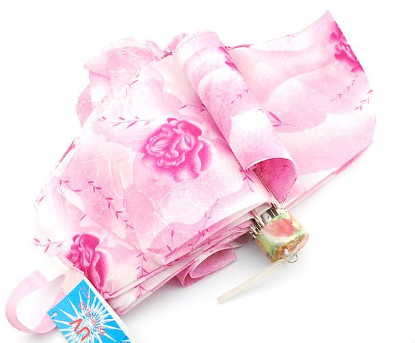 2012 Fashion Nice Design Pink Roman Flower Lady 3 Folded Sun Umbrella Special Handle