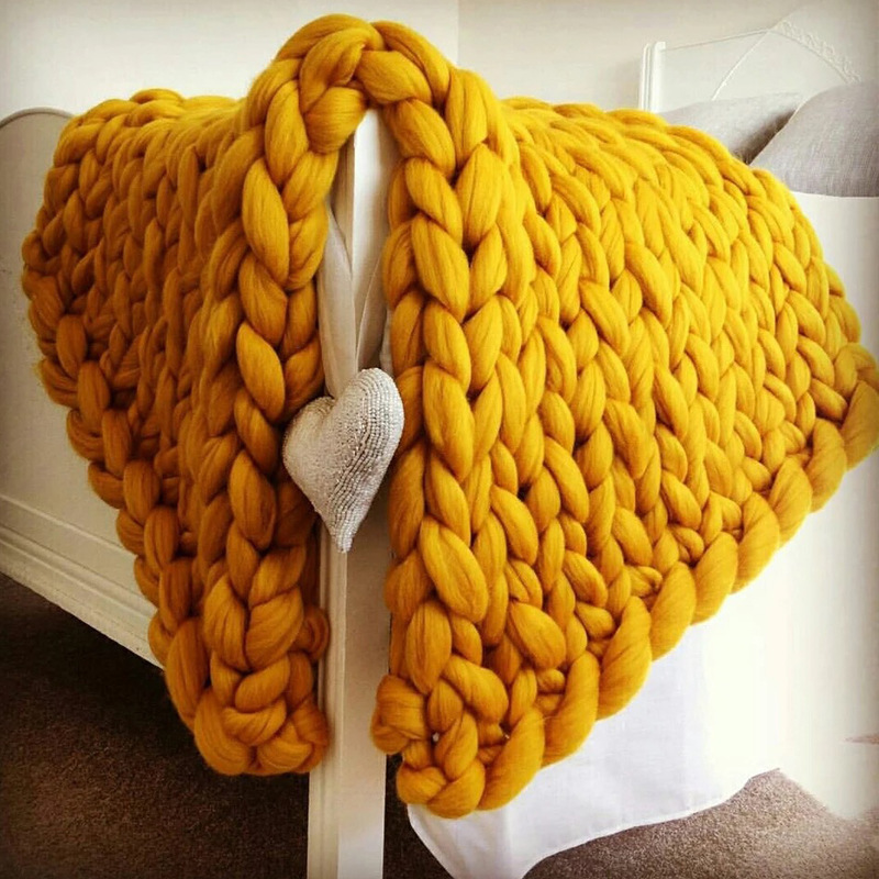Home Decor 100% Wool Merino Chunky Yarn Throw Knit Blanket For Wholesale
