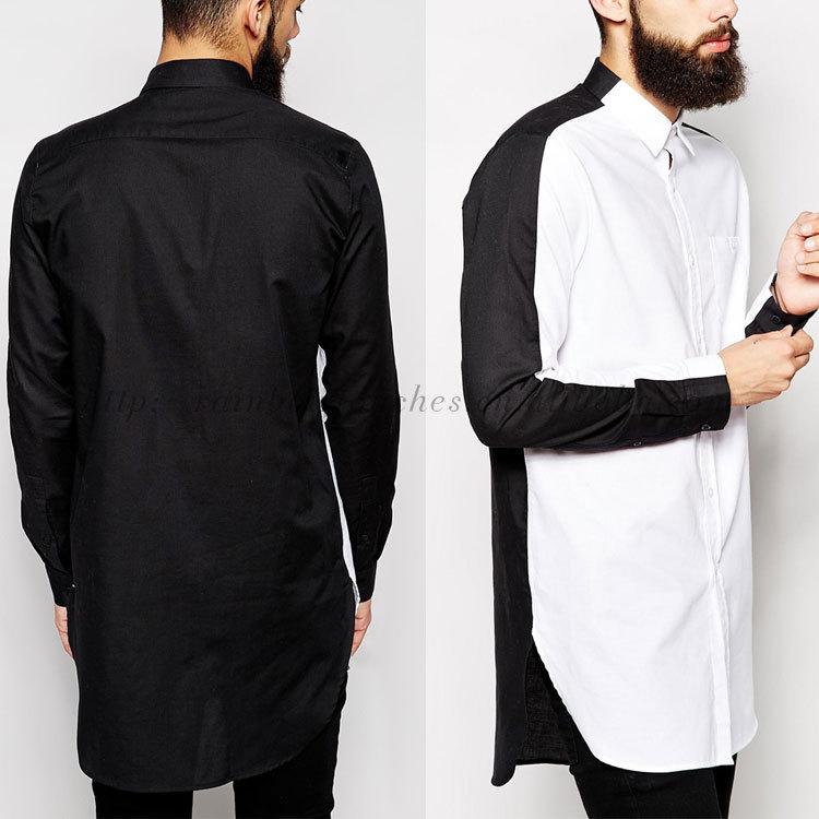 Longline Black And White Split Panel Men Casual Shirts 2014