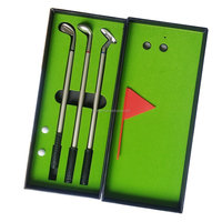 Golf Gifts sets with 3pcs Golf Club Shaped Alloy Ballpoint Pens ,mini flag,mini ball