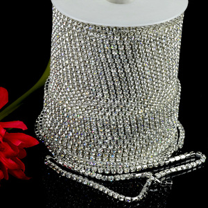 High density ss12 rhinestone trimming, crystal rhinestone cup chain in rolls