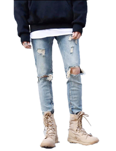 Royal wolf denim jeans manufacturer 2017 new style men slim fit pants zip broken jeans