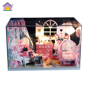 Good quality with light and furniture DIY miniature doll house wooden toy box