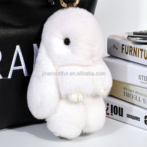 Car Pendant 18cm Rex 2017 New cute genuine soft fur rabbit pompon keychain