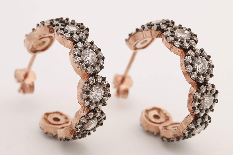 Turkish Handmade Jewelry Round Cut White Topaz Rose Gold 925 Sterling Silver Hoop Earrings
