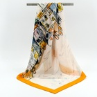"No MOQ Custom Printed 35"" Large Square Silk Scarf Hijab"