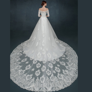 Fashion Romantic Half Sleeves Off Shoulder Lace Wedding Dresses With Long Train Buy Half Sleeves Lace Wedding Dressesoff The Shoulder Wedding