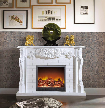Antique White Painted Electric Fireplace Modern Lcd Flame Effect
