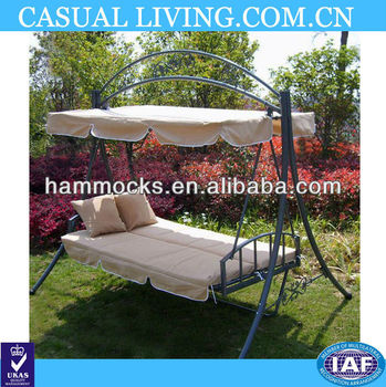 Outdoor Garden Porch Patio Swing Chair Canopy Swing Lounge Bed For