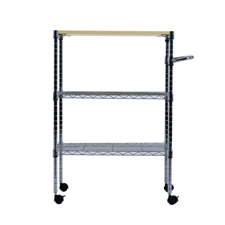 "Svitlife 24"" Portable Rolling Wire Shelf Kitchen Cart Storage Trolley Utility W Tier Shelf Rack Stand Basket Table 3 New"