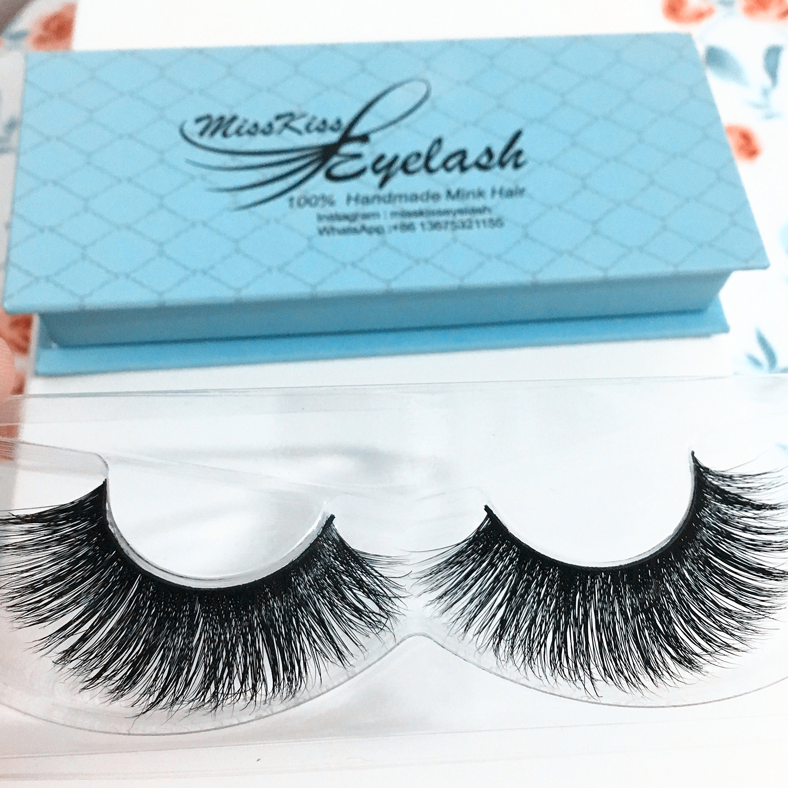 c8249cda649 Get Quotations · 3D Mink Eyelashes Hand-made Dramatic Makeup Strip Lashes  100% Siberian Fur Fake lashes