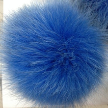 Real long hair dyed blue fox fur ball for keychain shoes and other garment accessory