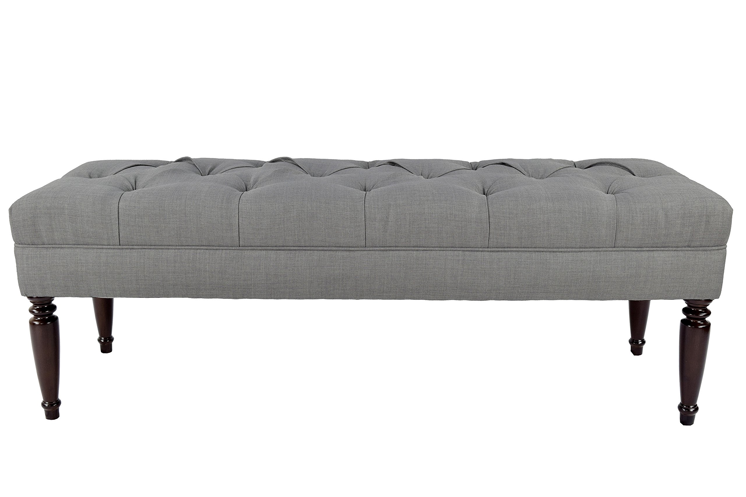 MJL Furniture Designs Claudia Collection Upholstered Diamond Tufted Bedroom Accent Bench, HJM100 Series, Dark Gray