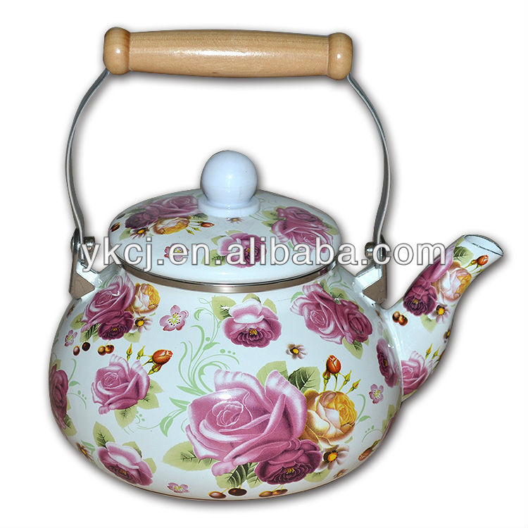 2.5L Enamel tea kettle/2014 New tea kettle in water kettle,wooden handle enamel kettles with metal cover, kitchen cooking kettle