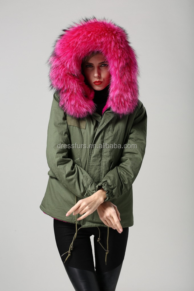 Woman Fur Coats Real Natural Fur Hooded Faux Fur Lining Coat