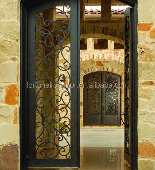2016 Wrought Iron Luxury Security Door Decorative Window