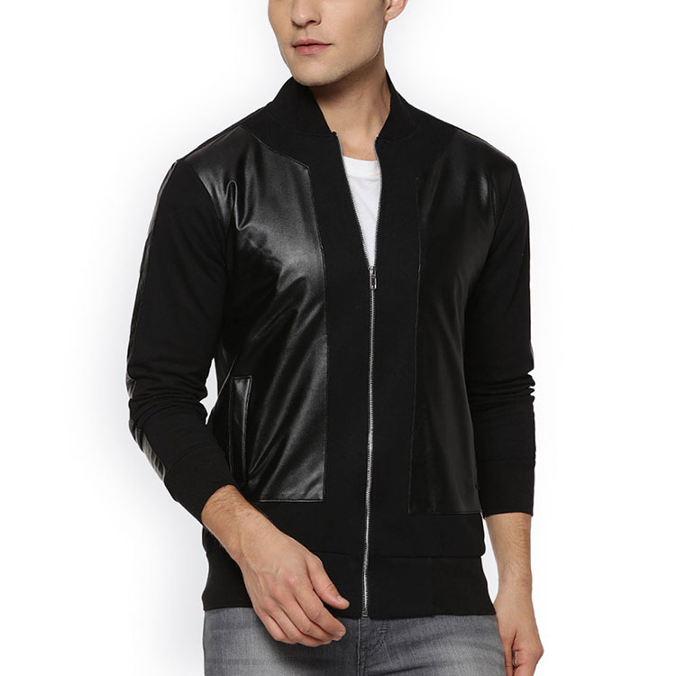 Baseball neckline custom leather patch quality cotton black jacket for men