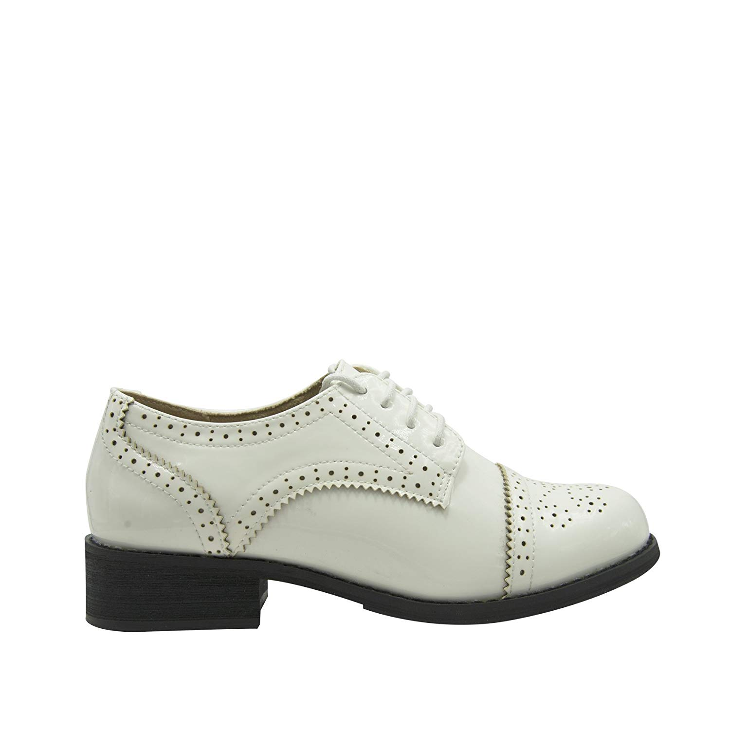 9c2215d3087 Get Quotations · GottaBe Womens Perforated Lace-up White Leather Oxfords  Shoes - Oxfords Shoes for Women -