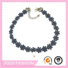 Newest 2016 Black Lace Pearl Pendant Choker Necklace For Sale