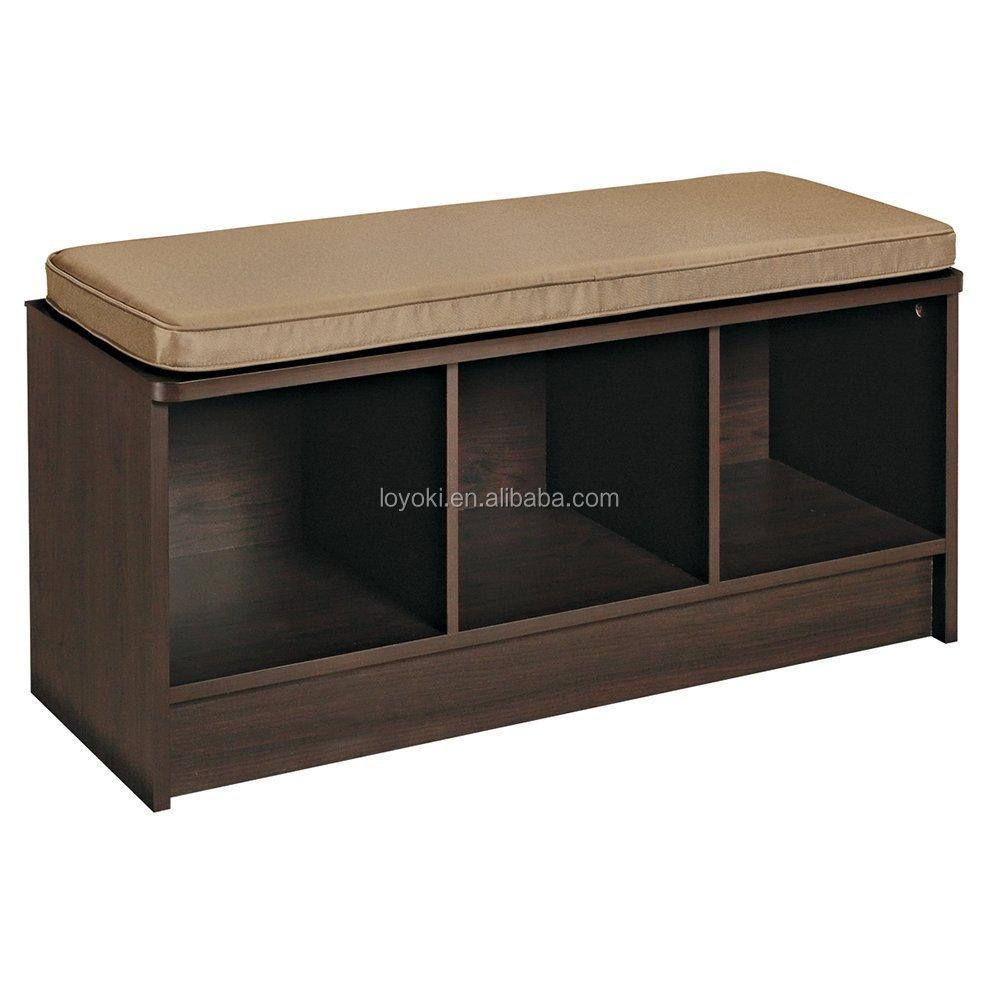 3 cube banc de rangement avec coussin si ge mdf bois. Black Bedroom Furniture Sets. Home Design Ideas
