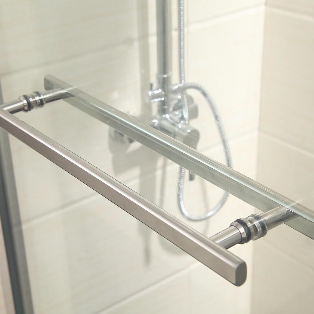 Framed 2 Sliding Bathtub Shower Door Clear Glass Brushed