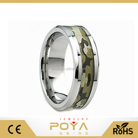 POYA Jewelry Unique Tungsten Carbide Silver Green Brown Black Forest Camouflage-Camo Wedding Ring