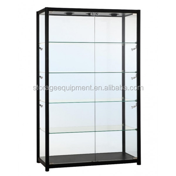 Black retail counter glass display case on hot selling