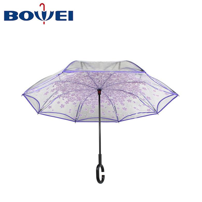 OEM transparent c handle umbrellas reverse inverted umbrella windproof
