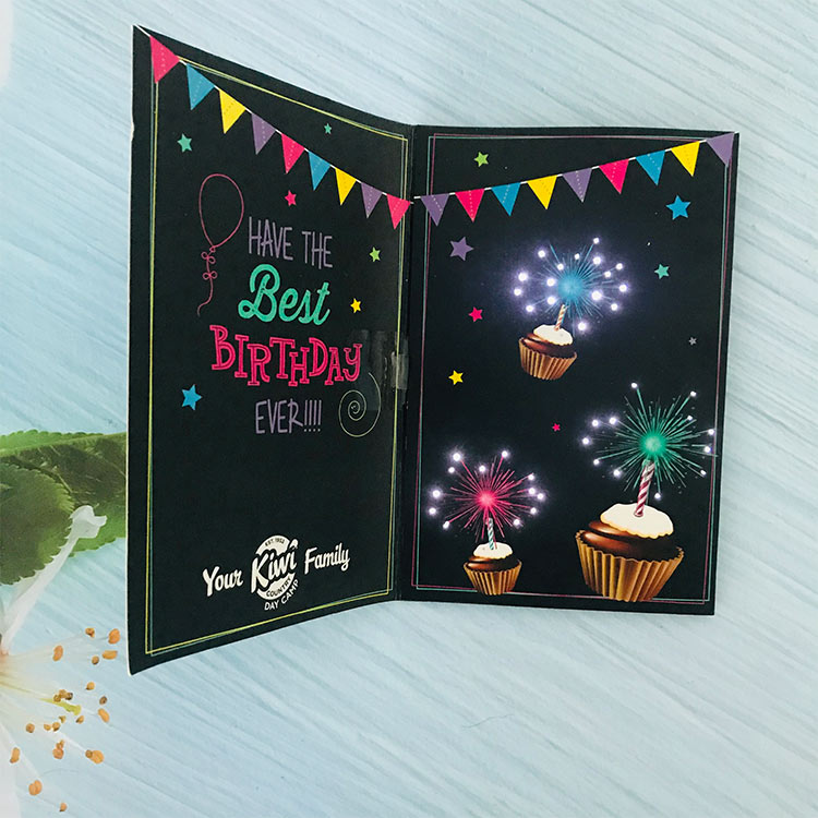 Coated paper handmade led light module paper cut greeting card for birthday