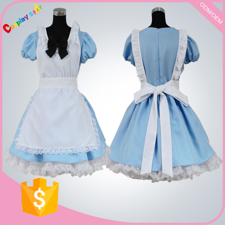 Free Shipping High quality blue dress Alice's Adventures in Wonderland Costume Cosplay uniform for women