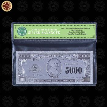 Wr Holiday Gift Silver Foil American 5000 Dollar Bill Unique World